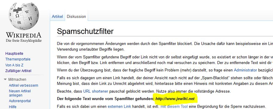 Sperrung von Links zum Jewiki
