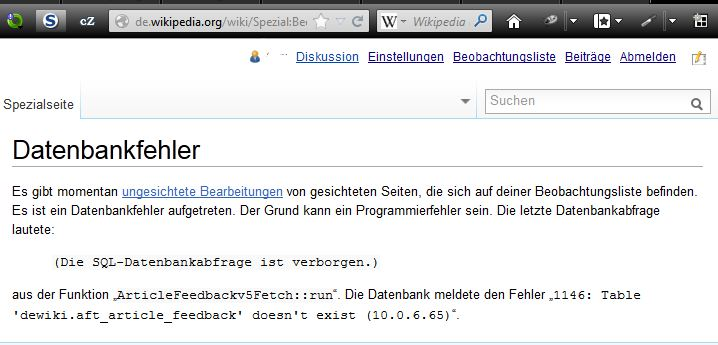 Fehlermelung dewiki.aft_article_feedback