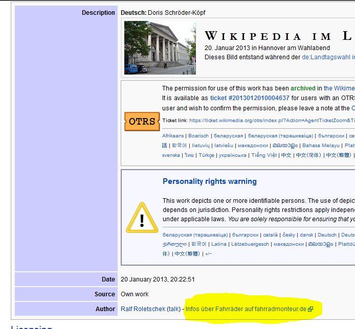 Werbung in der Wikipedia über Bildbeschreibungen