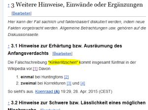 """Die Falschschreibung """"Kinkerlitzschen"""" kommt insgesamt fünfmal in der Wikipedia vor."""